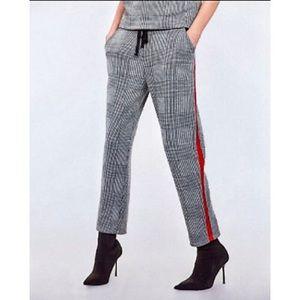 ZARA Black & White Plaid Jogging Pants Red Stripe